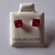 5mm square Princess cut Ruby Cubic Zirconia Sterling silver Stud earrings